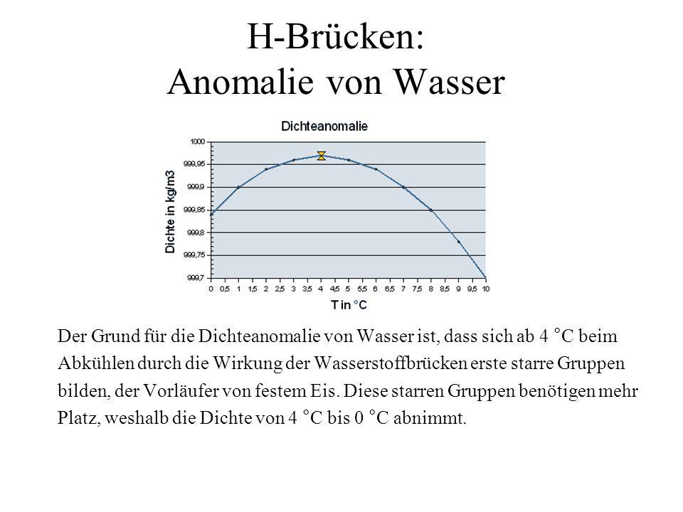 H-Brücken: Anomalie von Wasser Der Grund für die Dichteanomalie von Wasser ist, dass sich ab 4 °C beim Abkühlen durch die Wirkung der Wasserstoffbrück