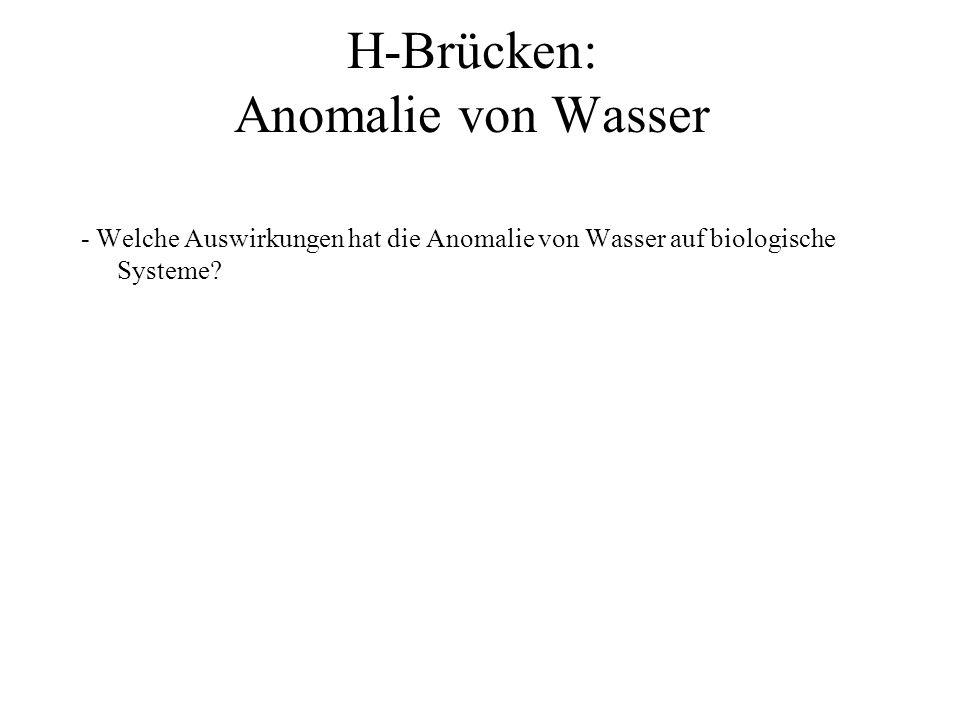 H-Brücken: Anomalie von Wasser - Welche Auswirkungen hat die Anomalie von Wasser auf biologische Systeme?