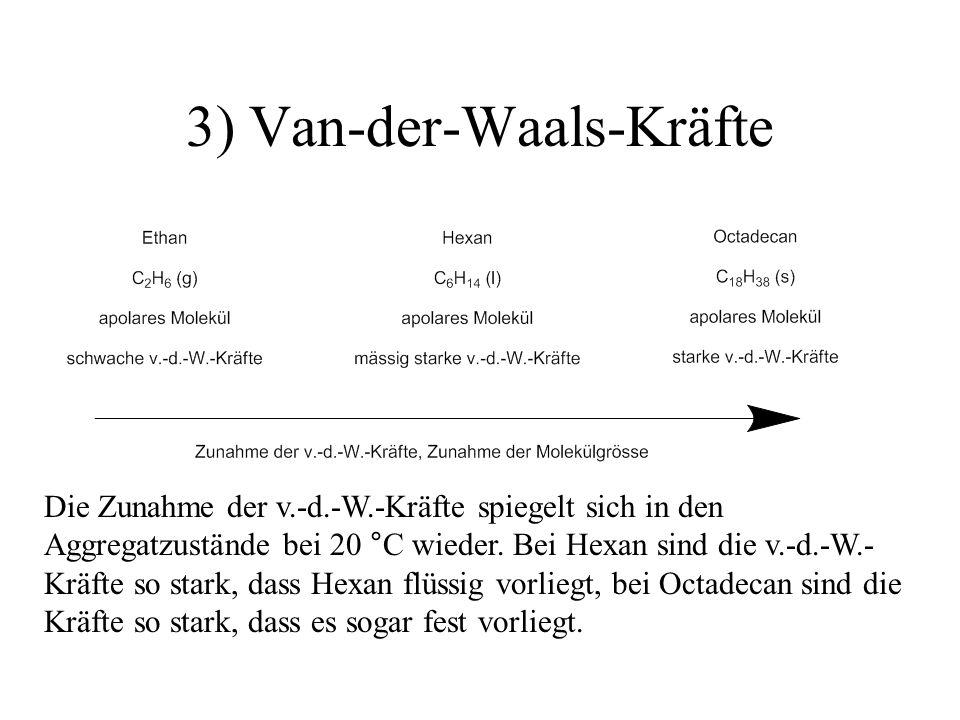 3) Van-der-Waals-Kräfte Die Zunahme der v.-d.-W.-Kräfte spiegelt sich in den Aggregatzustände bei 20 °C wieder. Bei Hexan sind die v.-d.-W.- Kräfte so