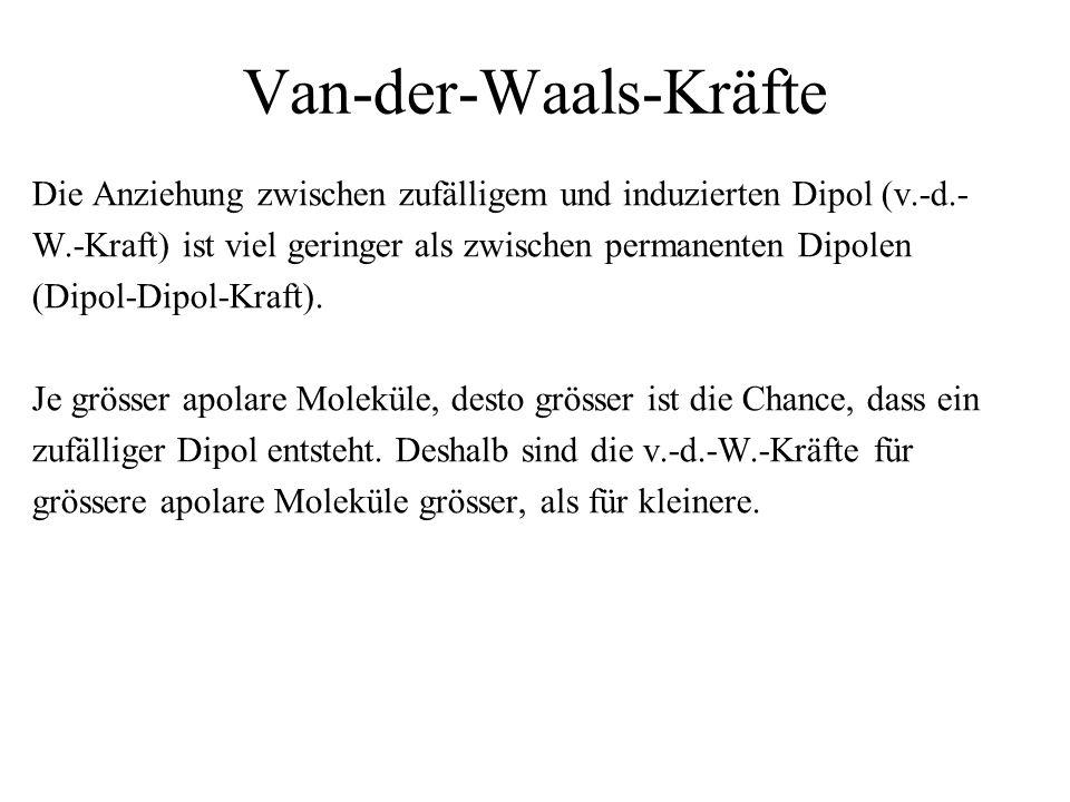 Van-der-Waals-Kräfte Die Anziehung zwischen zufälligem und induzierten Dipol (v.-d.- W.-Kraft) ist viel geringer als zwischen permanenten Dipolen (Dip