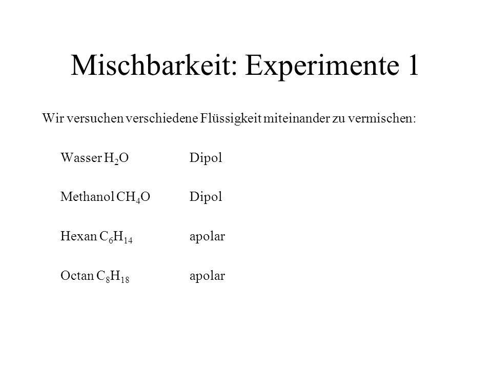 Mischbarkeit: Experimente 1 Wir versuchen verschiedene Flüssigkeit miteinander zu vermischen: Wasser H 2 ODipol Methanol CH 4 ODipol Hexan C 6 H 14 ap