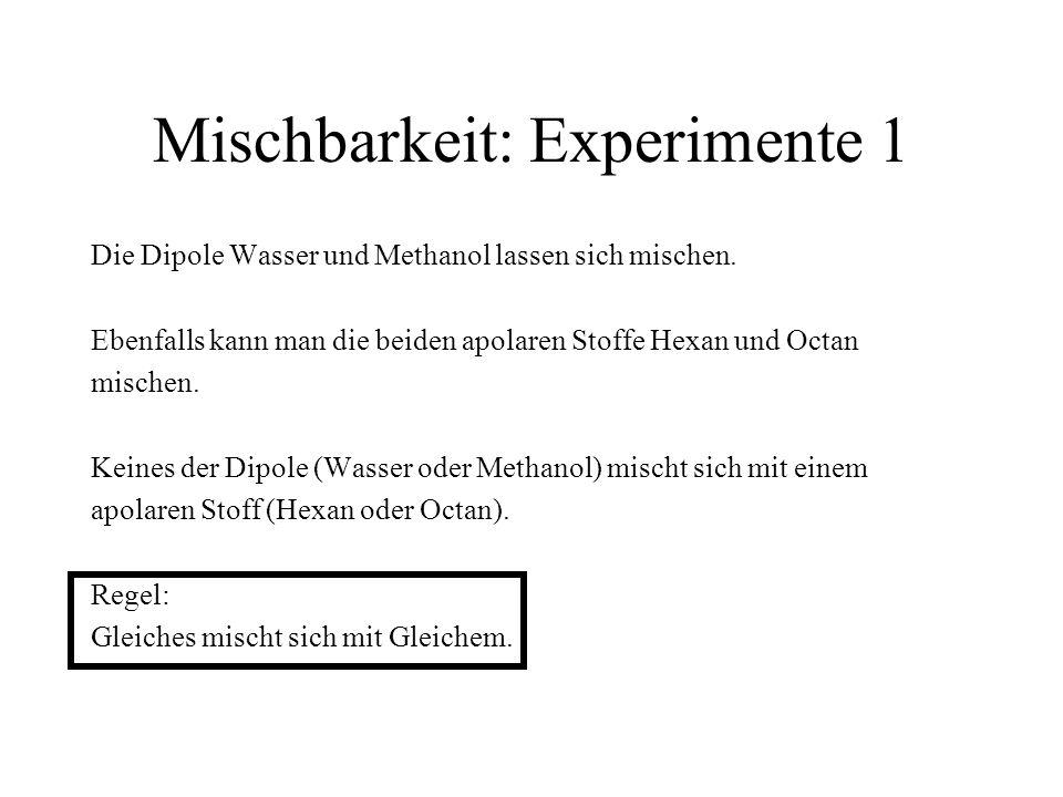 Mischbarkeit: Experimente 1 Die Dipole Wasser und Methanol lassen sich mischen. Ebenfalls kann man die beiden apolaren Stoffe Hexan und Octan mischen.
