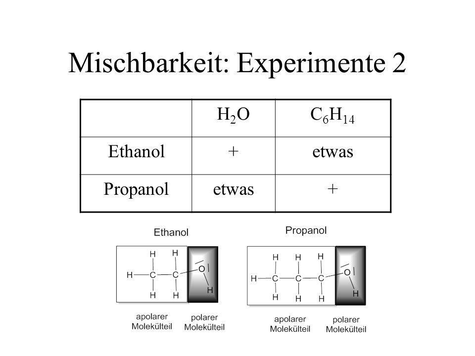Mischbarkeit: Experimente 2 H2OH2OC 6 H 14 Ethanol+etwas Propanoletwas+