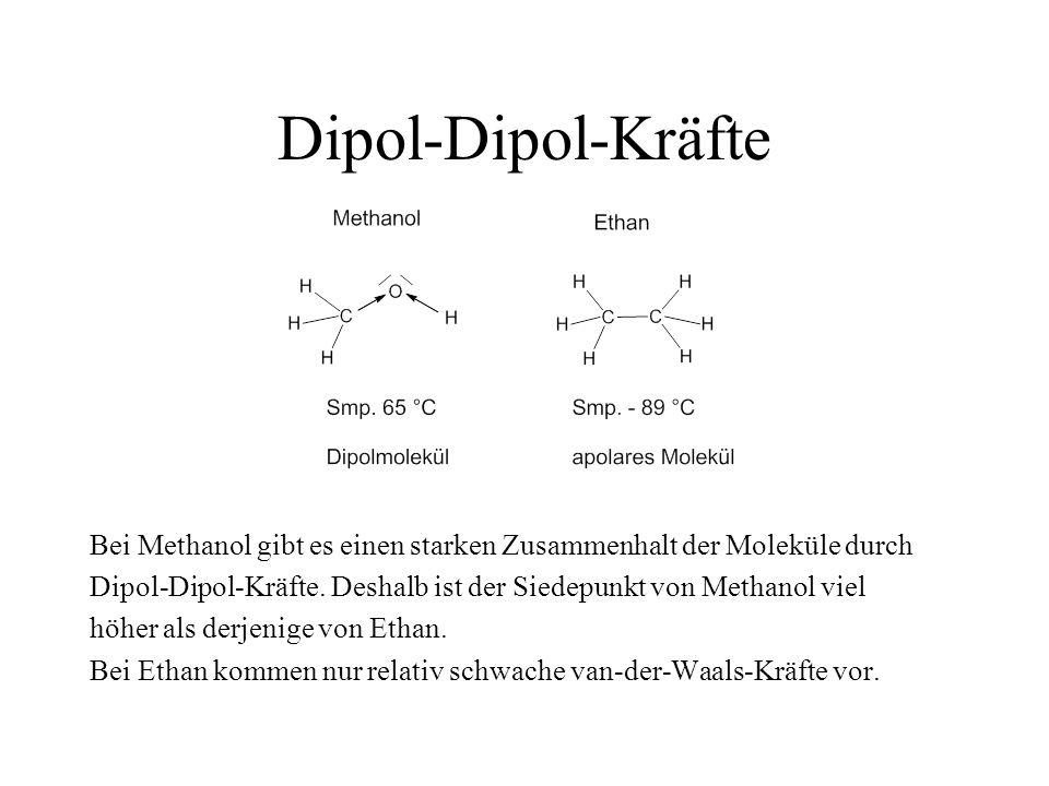 Dipol-Dipol-Kräfte Bei Methanol gibt es einen starken Zusammenhalt der Moleküle durch Dipol-Dipol-Kräfte. Deshalb ist der Siedepunkt von Methanol viel