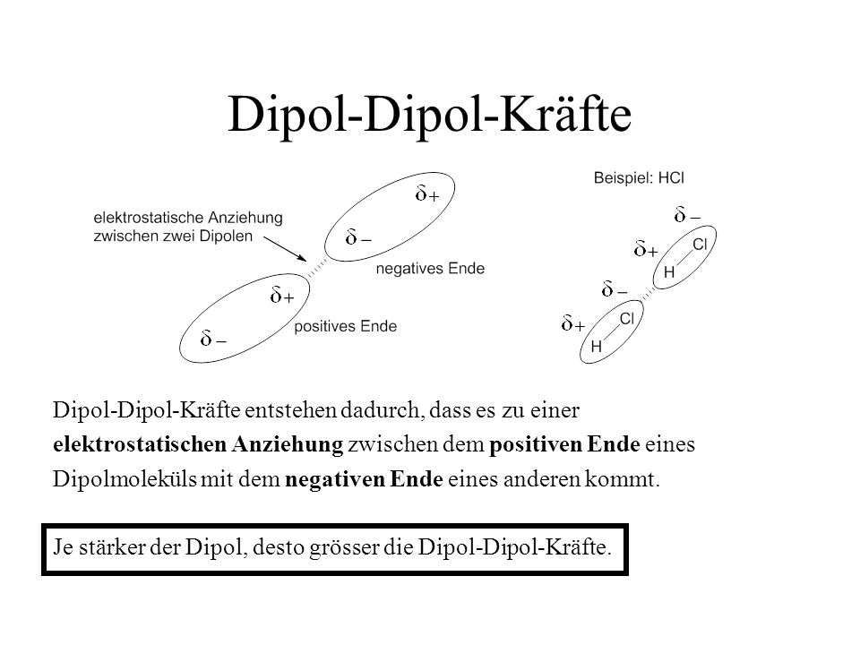 Dipol-Dipol-Kräfte Dipol-Dipol-Kräfte entstehen dadurch, dass es zu einer elektrostatischen Anziehung zwischen dem positiven Ende eines Dipolmoleküls