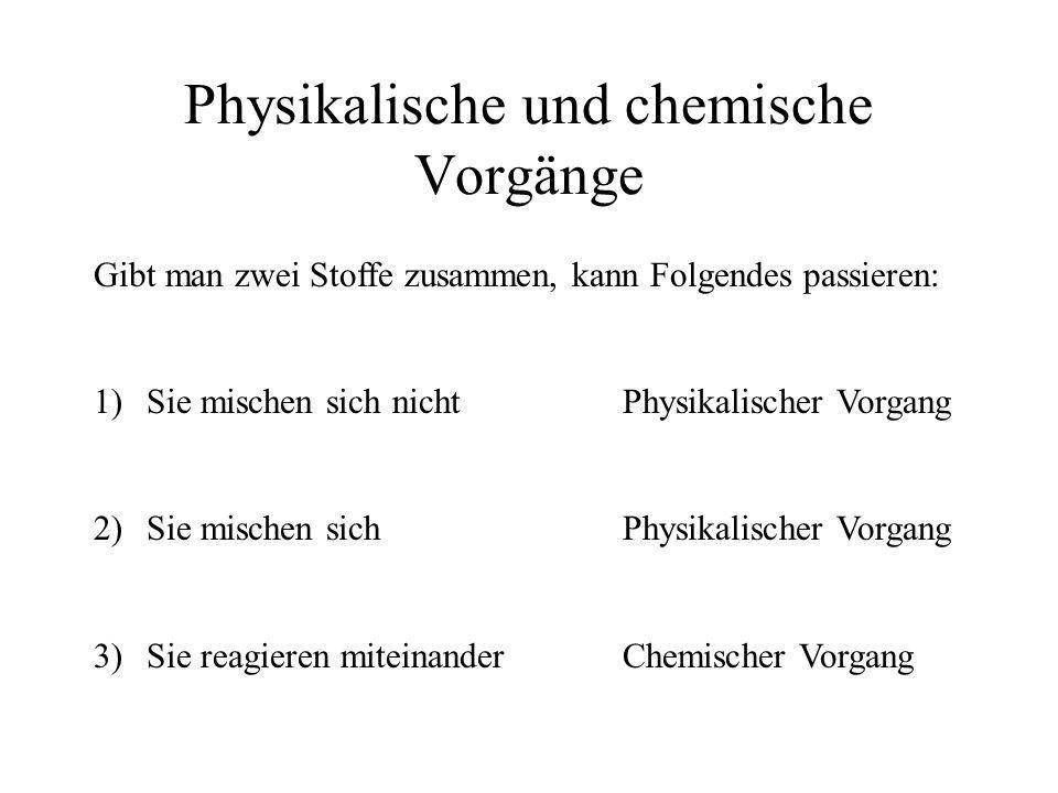 Physikalische und chemische Vorgänge Gibt man zwei Stoffe zusammen, kann Folgendes passieren: 1)Sie mischen sich nichtPhysikalischer Vorgang 2)Sie mis