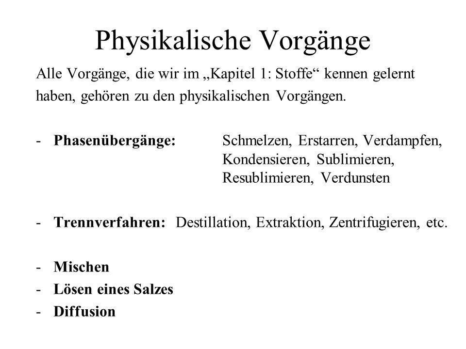 Physikalische Vorgänge Alle Vorgänge, die wir im Kapitel 1: Stoffe kennen gelernt haben, gehören zu den physikalischen Vorgängen. - Phasenübergänge: S