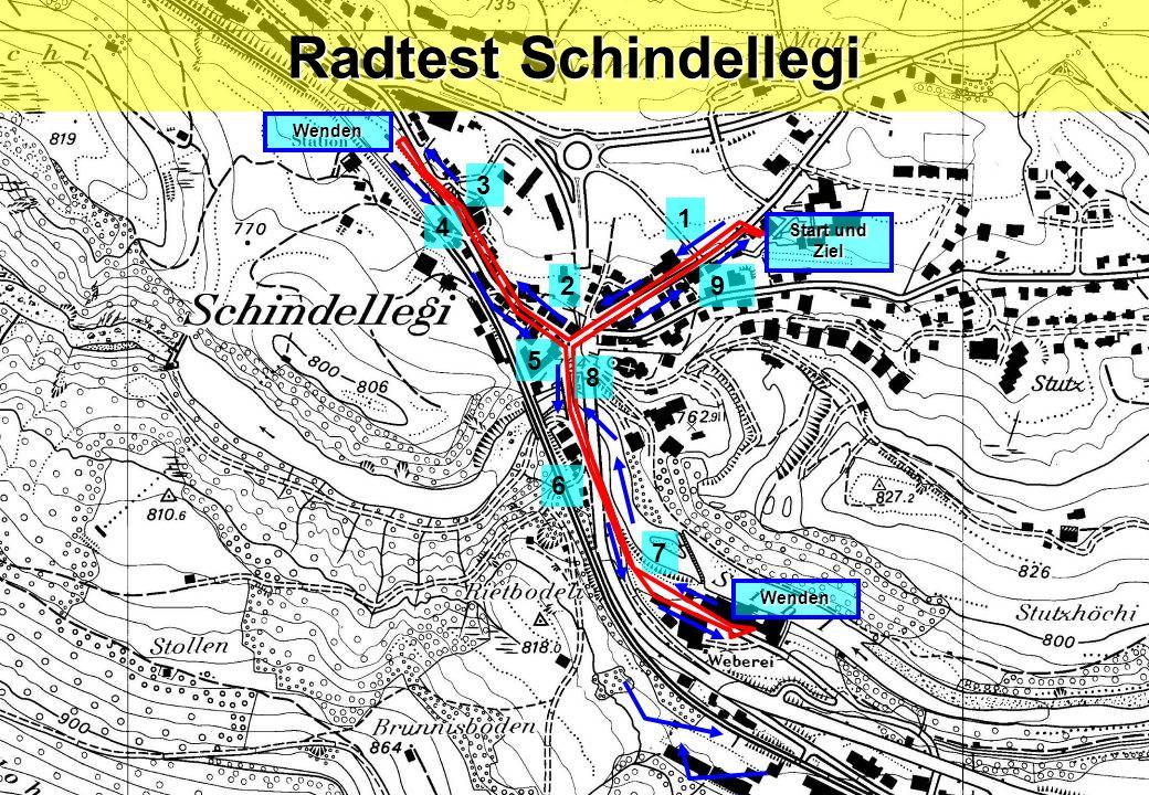 Radtest Schindellegi 5 1 2 3 6 4 7 Start und Ziel 9 8 Wenden Wenden