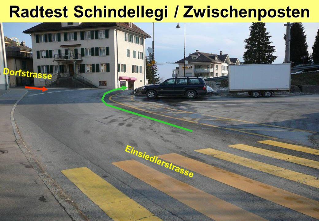 Radtest Schindellegi / Posten 9 RechtsabbiegenZeichengabe Richtung Kreisel Pfäffikonerstrasse