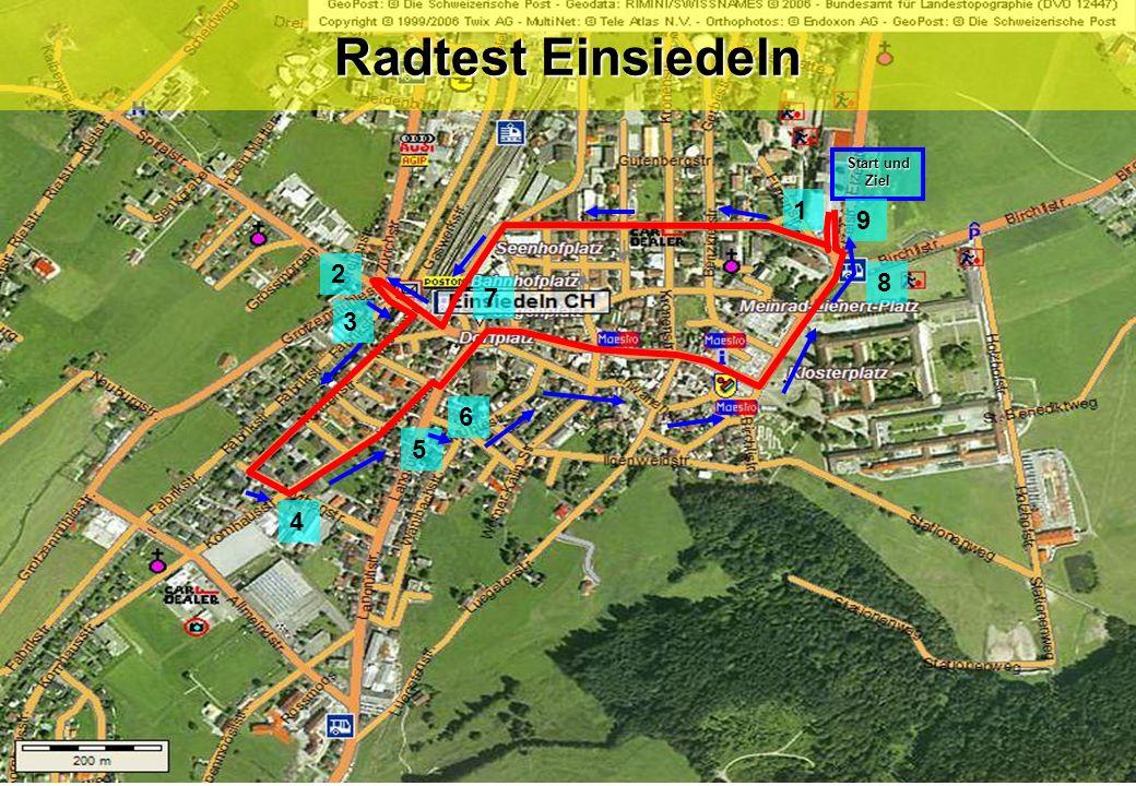 Radtest Einsiedeln Start und Ziel 9 1 2 3 4 5 6 7 8