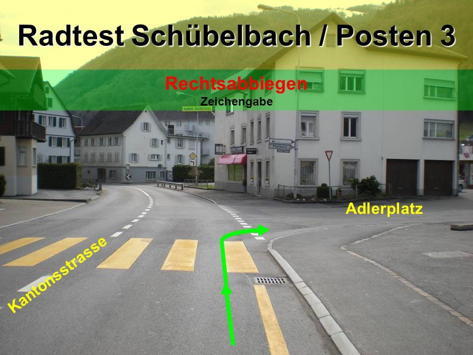 Adlerplatz Eisenburgstrasse Radtest Schübelbach / Posten 4 Linkssabbiegen Blick zurück / Zeichengabe / Einspuren / Vortritt!