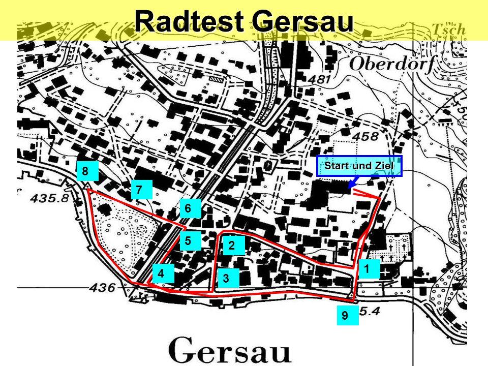 Start und Ziel 1 2 3 4 5 7 8 9 6 Radtest Gersau