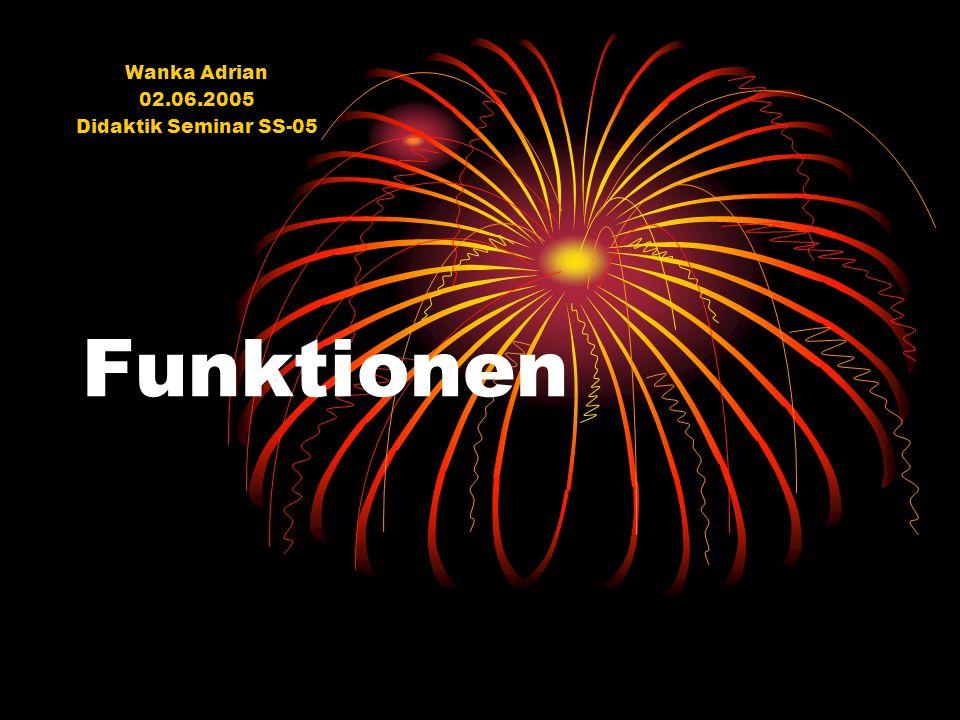 Funktionen Wanka Adrian 02.06.2005 Didaktik Seminar SS-05
