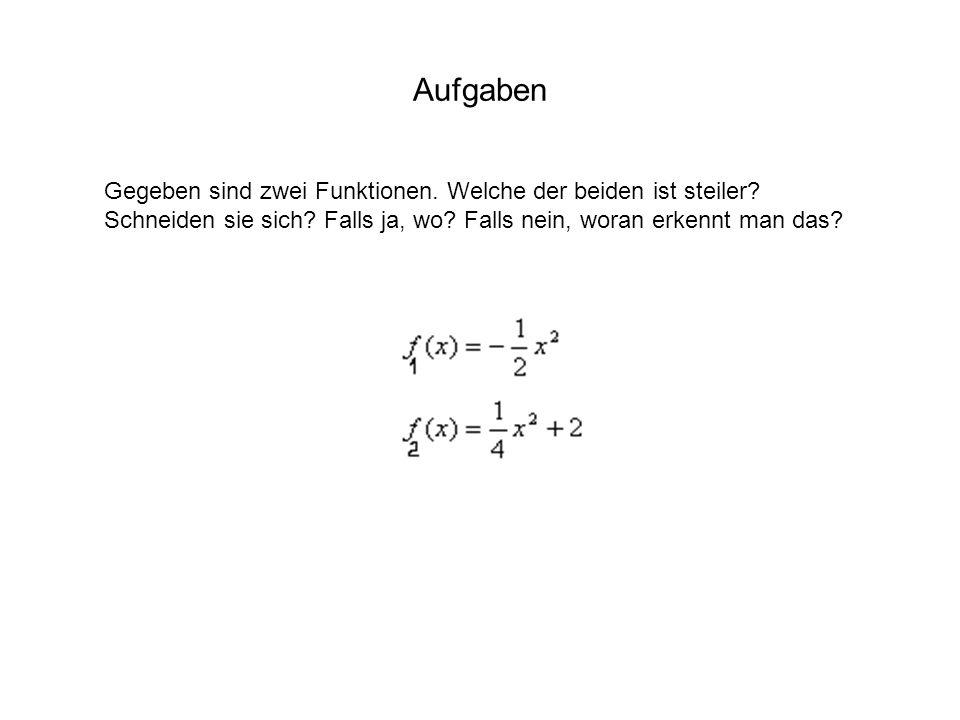 Aufgaben Gegeben sind zwei Funktionen. Welche der beiden ist steiler? Schneiden sie sich? Falls ja, wo? Falls nein, woran erkennt man das?