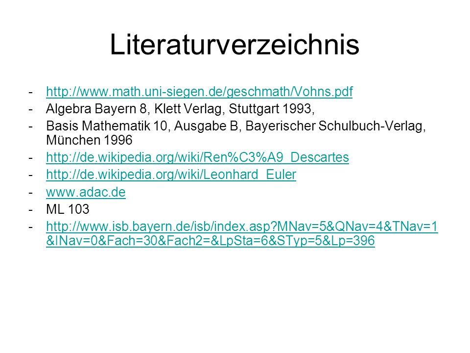 Literaturverzeichnis -http://www.math.uni-siegen.de/geschmath/Vohns.pdfhttp://www.math.uni-siegen.de/geschmath/Vohns.pdf -Algebra Bayern 8, Klett Verl