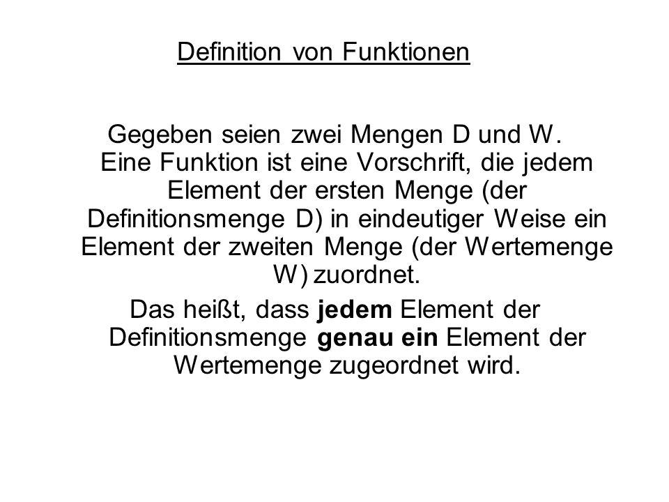 Definition von Funktionen Gegeben seien zwei Mengen D und W. Eine Funktion ist eine Vorschrift, die jedem Element der ersten Menge (der Definitionsmen
