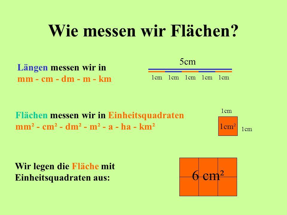 Wie messen wir Flächen? Längen messen wir in mm - cm - dm - m - km 1cm 5cm Flächen messen wir in Einheitsquadraten mm² - cm² - dm² - m² - a - ha - km²