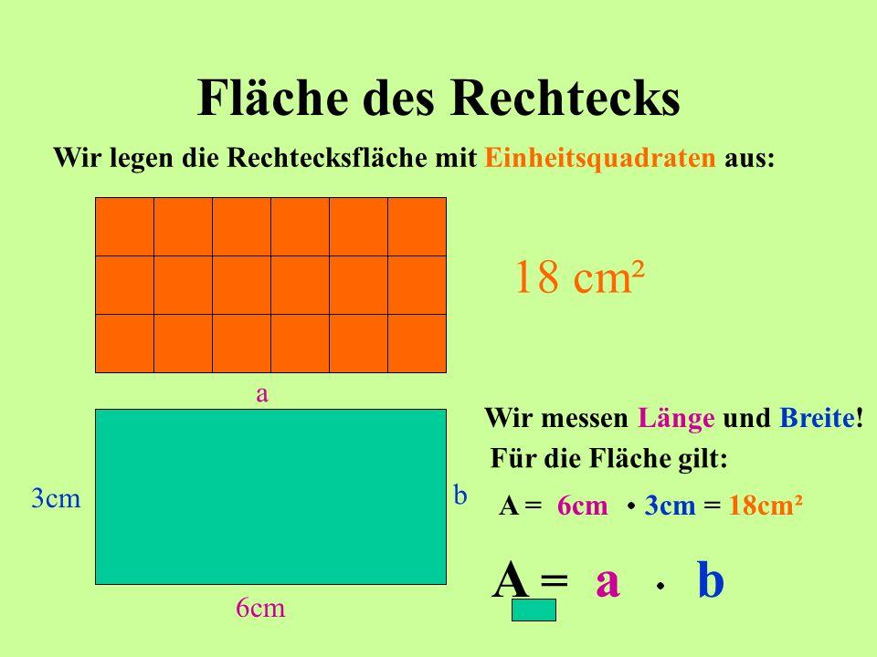 Fläche des Rechtecks 1cm² Wir legen die Rechtecksfläche mit Einheitsquadraten aus: 18 cm² Wir messen Länge und Breite! 6cm 3cm a b Für die Fläche gilt
