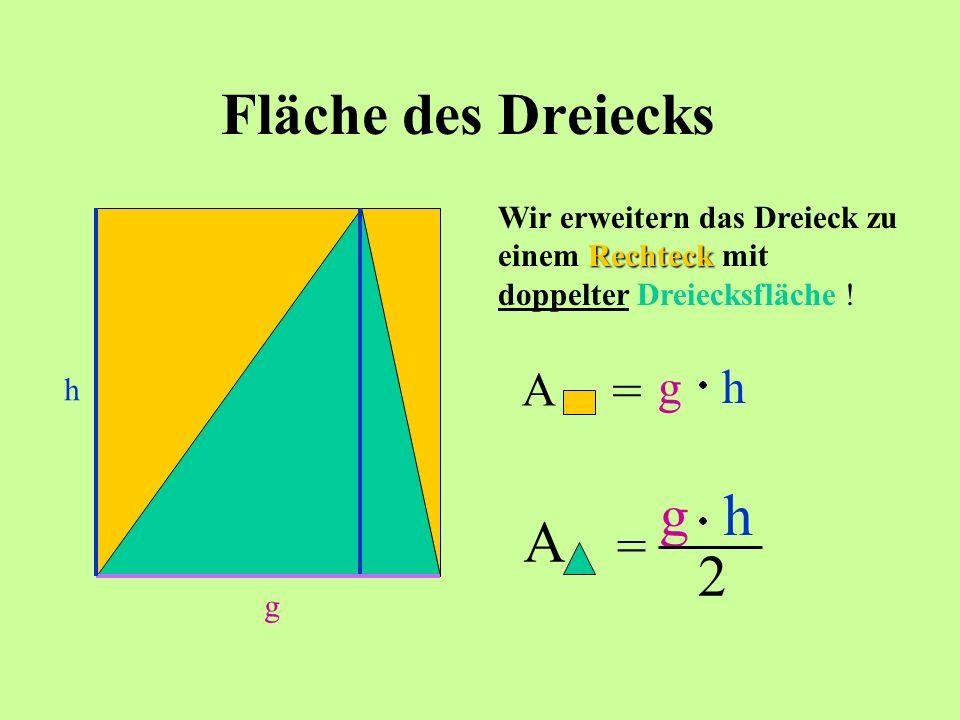 Fläche des Dreiecks g Rechteck Wir erweitern das Dreieck zu einem Rechteck mit doppelter Dreiecksfläche ! h A = gh A = gh 2