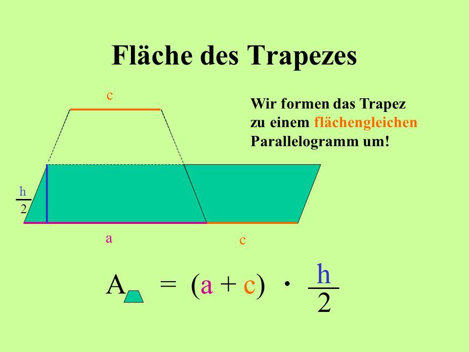 Fläche des Trapezes Wir formen das Trapez zu einem flächengleichen Parallelogramm um! c a c h h 2 A= (a + c) h 2