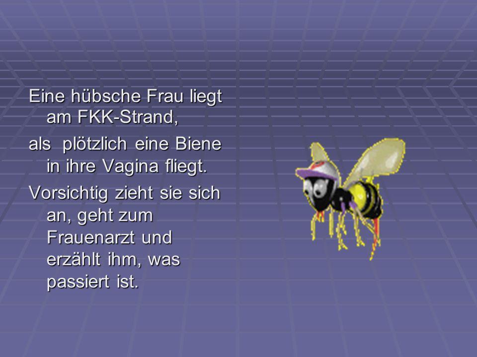Eine hübsche Frau liegt am FKK-Strand, als plötzlich eine Biene in ihre Vagina fliegt. Vorsichtig zieht sie sich an, geht zum Frauenarzt und erzählt i