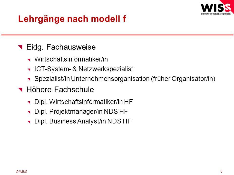 © WISS Lehrgänge nach modell f 3 Eidg. Fachausweise Wirtschaftsinformatiker/in ICT-System- & Netzwerkspezialist Spezialist/in Unternehmensorganisation