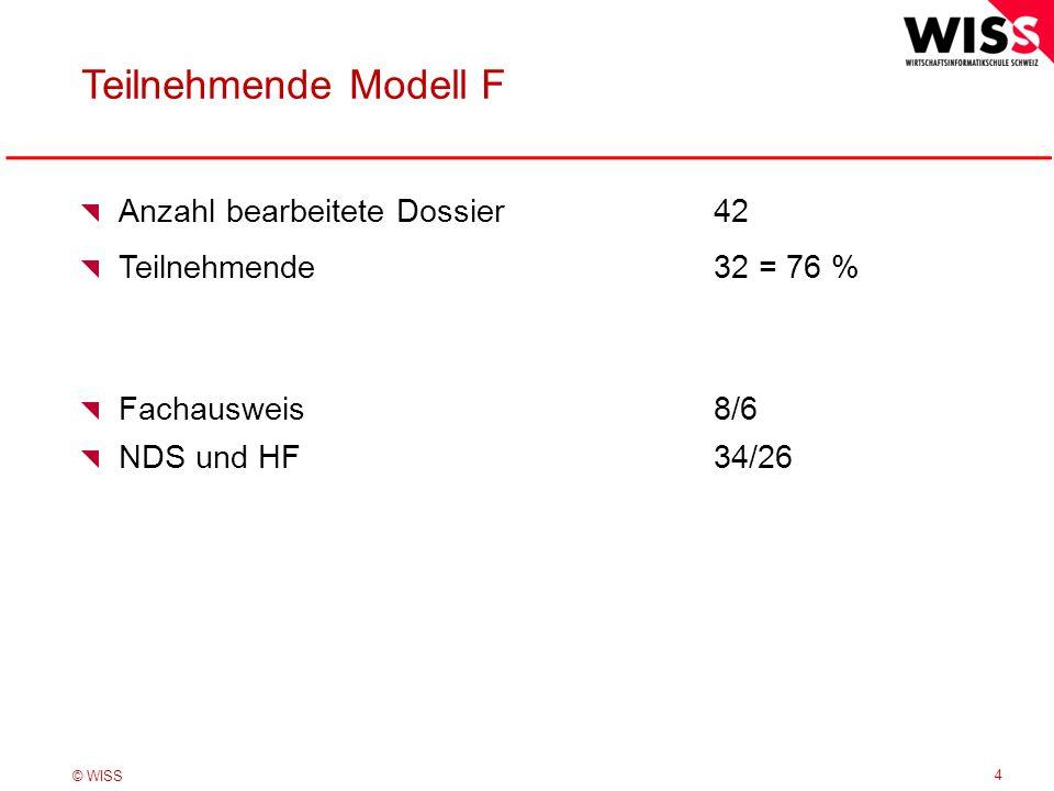 © WISS Teilnehmende Modell F 4 Anzahl bearbeitete Dossier42 Teilnehmende32 = 76 % Fachausweis8/6 NDS und HF34/26