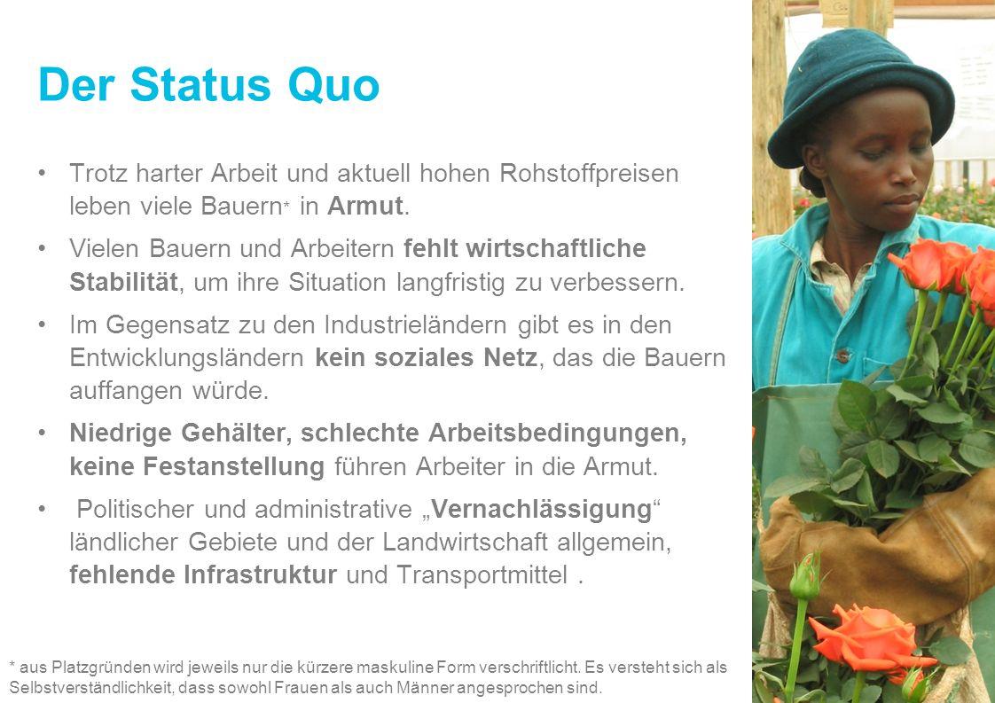 Der Status Quo Trotz harter Arbeit und aktuell hohen Rohstoffpreisen leben viele Bauern * in Armut. Vielen Bauern und Arbeitern fehlt wirtschaftliche