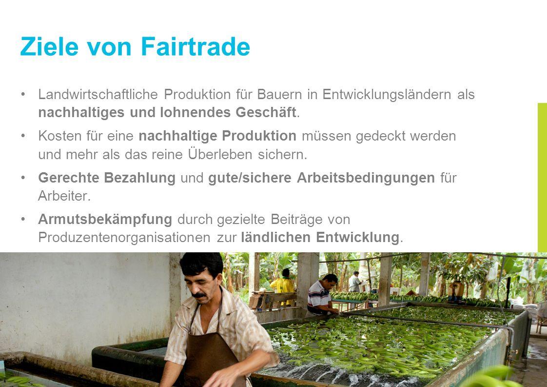 Ziele von Fairtrade Landwirtschaftliche Produktion für Bauern in Entwicklungsländern als nachhaltiges und lohnendes Geschäft. Kosten für eine nachhalt