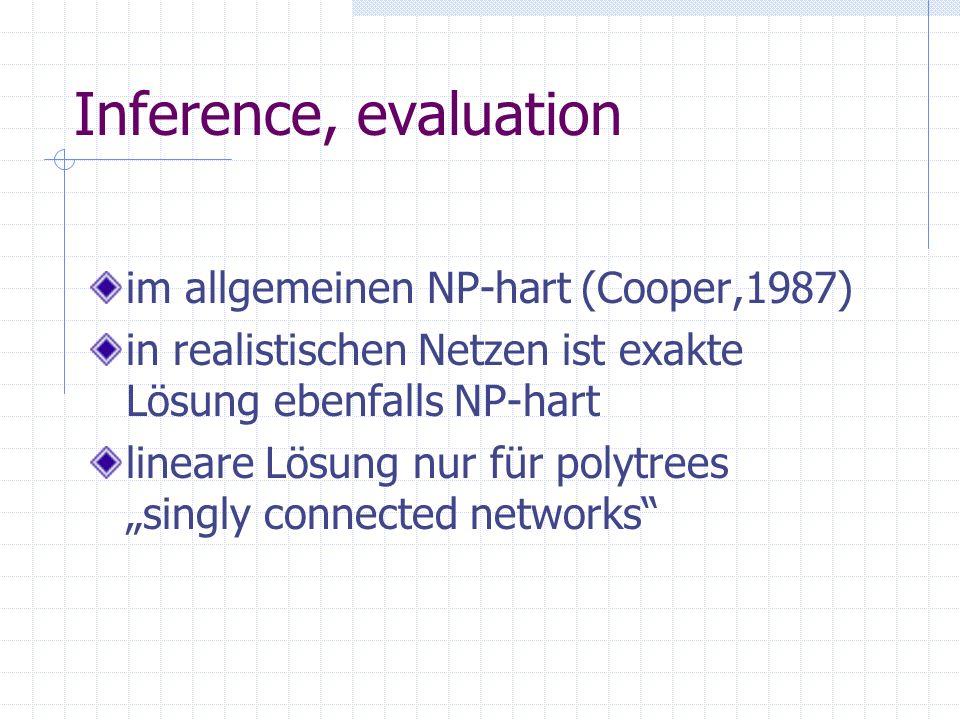 Inference, evaluation im allgemeinen NP-hart (Cooper,1987) in realistischen Netzen ist exakte Lösung ebenfalls NP-hart lineare Lösung nur für polytrees singly connected networks