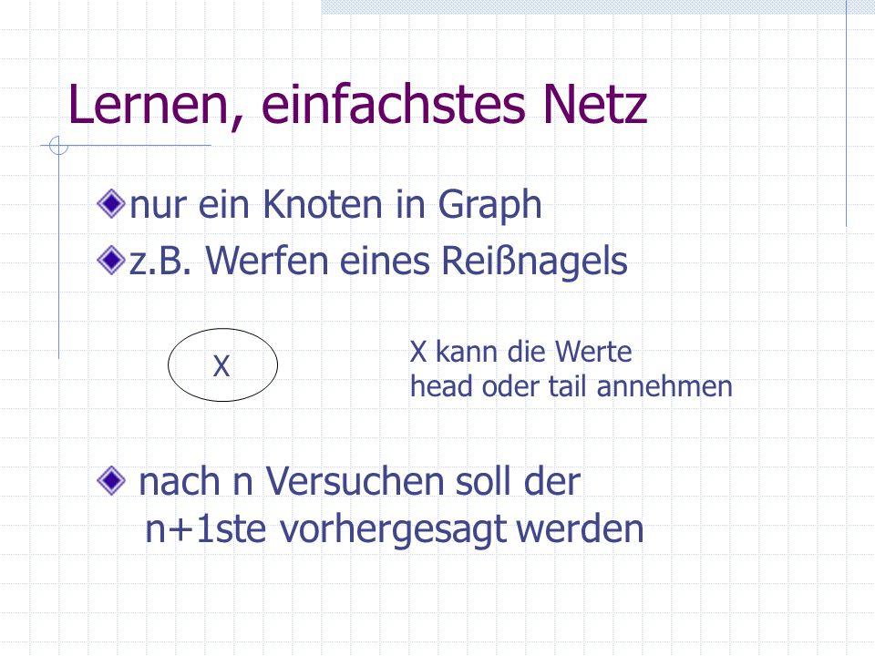 Lernen, einfachstes Netz nur ein Knoten in Graph z.B. Werfen eines Reißnagels X X kann die Werte head oder tail annehmen nach n Versuchen soll der n+1