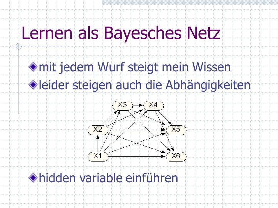 Lernen als Bayesches Netz mit jedem Wurf steigt mein Wissen leider steigen auch die Abhängigkeiten hidden variable einführen