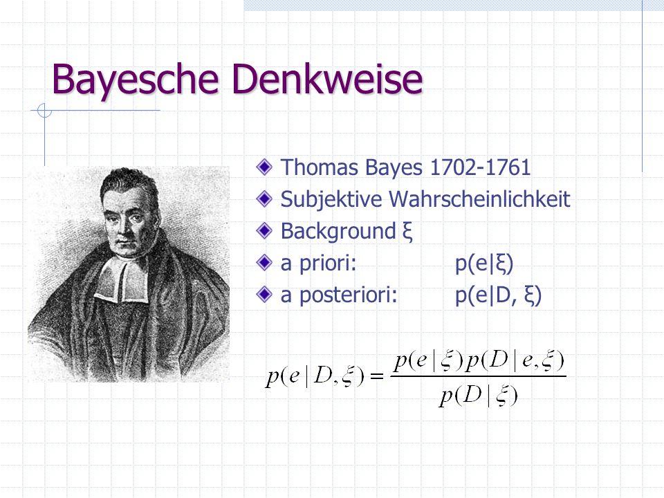 Bayesche Denkweise Thomas Bayes 1702-1761 Subjektive Wahrscheinlichkeit Background ξ a priori: p(e|ξ) a posteriori: p(e|D, ξ)