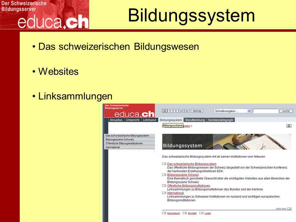Bildungssystem Das schweizerischen Bildungswesen Websites Linksammlungen