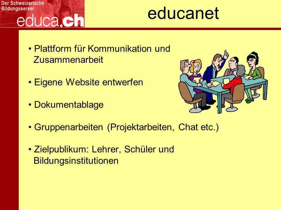 educanet Plattform für Kommunikation und Zusammenarbeit Eigene Website entwerfen Dokumentablage Gruppenarbeiten (Projektarbeiten, Chat etc.) Zielpublikum: Lehrer, Schüler und Bildungsinstitutionen