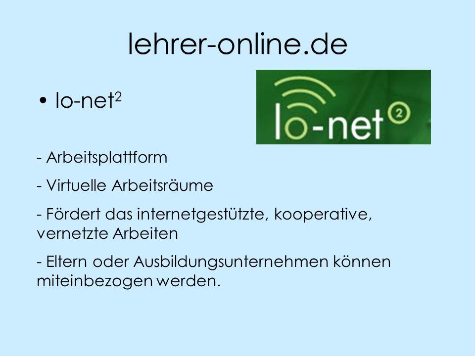 lehrer-online.de lo-net 2 - Arbeitsplattform - Virtuelle Arbeitsräume - Fördert das internetgestützte, kooperative, vernetzte Arbeiten - Eltern oder A
