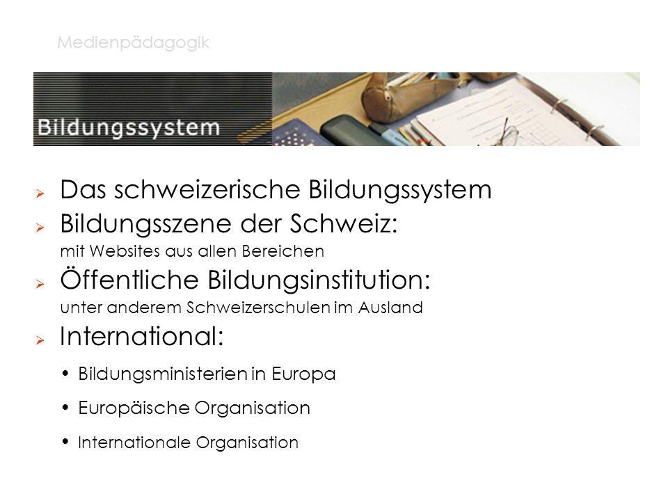 Medienpädagogik Das schweizerische Bildungssystem Bildungsszene der Schweiz: mit Websites aus allen Bereichen Öffentliche Bildungsinstitution: unter a