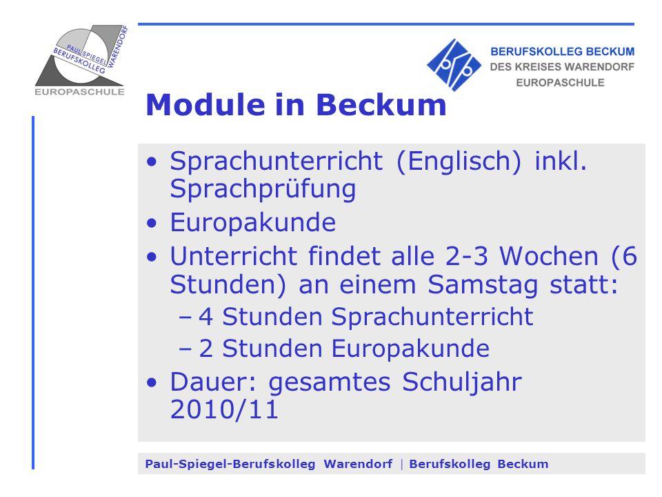 Paul-Spiegel-Berufskolleg Warendorf | Berufskolleg Beckum Module in Beckum Sprachunterricht (Englisch) inkl. Sprachprüfung Europakunde Unterricht find