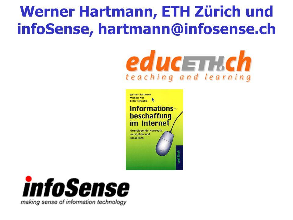 Werner Hartmann, ETH Zürich und infoSense, hartmann@infosense.ch