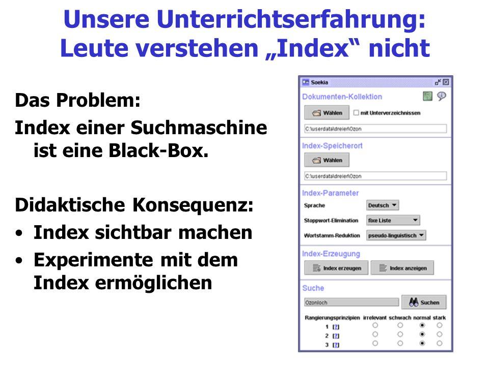 Unsere Unterrichtserfahrung: Leute verstehen Index nicht Das Problem: Index einer Suchmaschine ist eine Black-Box. Didaktische Konsequenz: Index sicht