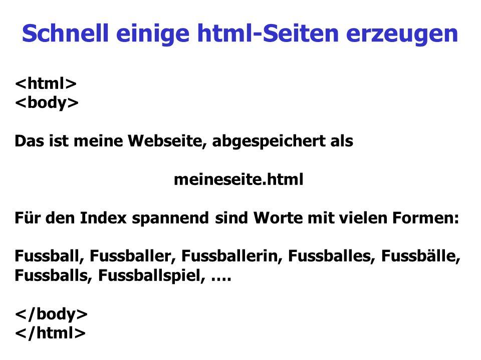 Schnell einige html-Seiten erzeugen Das ist meine Webseite, abgespeichert als meineseite.html Für den Index spannend sind Worte mit vielen Formen: Fus
