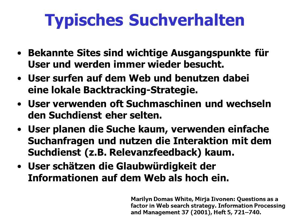 Typisches Suchverhalten Bekannte Sites sind wichtige Ausgangspunkte für User und werden immer wieder besucht. User surfen auf dem Web und benutzen dab