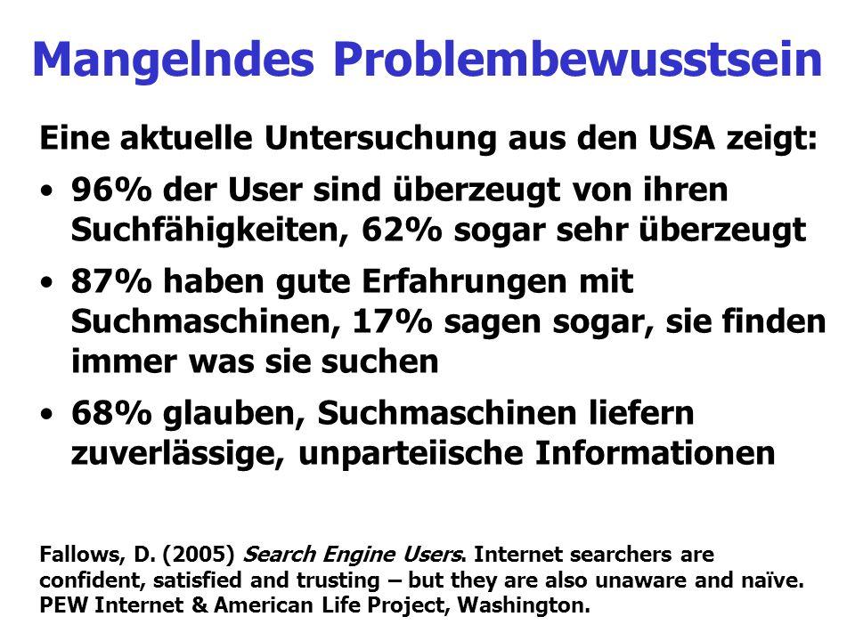 Mangelndes Problembewusstsein Eine aktuelle Untersuchung aus den USA zeigt: 96% der User sind überzeugt von ihren Suchfähigkeiten, 62% sogar sehr über