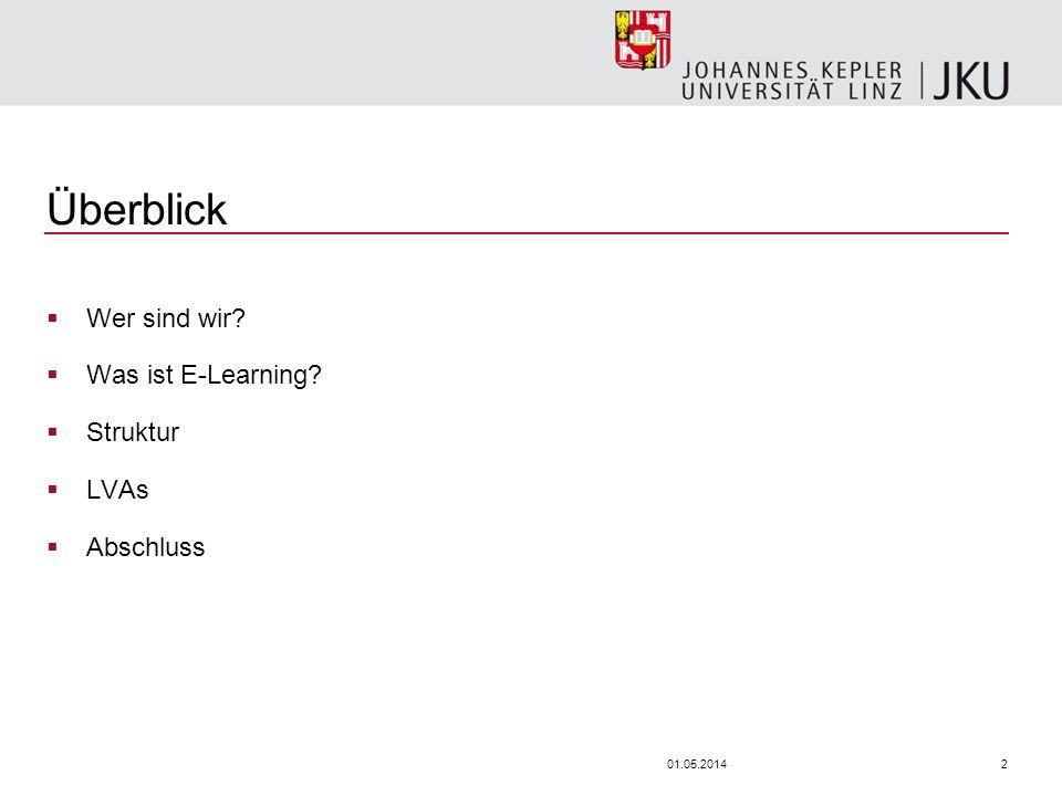 201.05.2014 Überblick Wer sind wir? Was ist E-Learning? Struktur LVAs Abschluss
