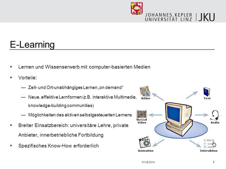 501.05.2014 E-Learning Lernen und Wissenserwerb mit computer-basierten Medien Vorteile: Zeit- und Ort-unabhängiges Lernen on demand Neue, effektive Lernformen (z.B.
