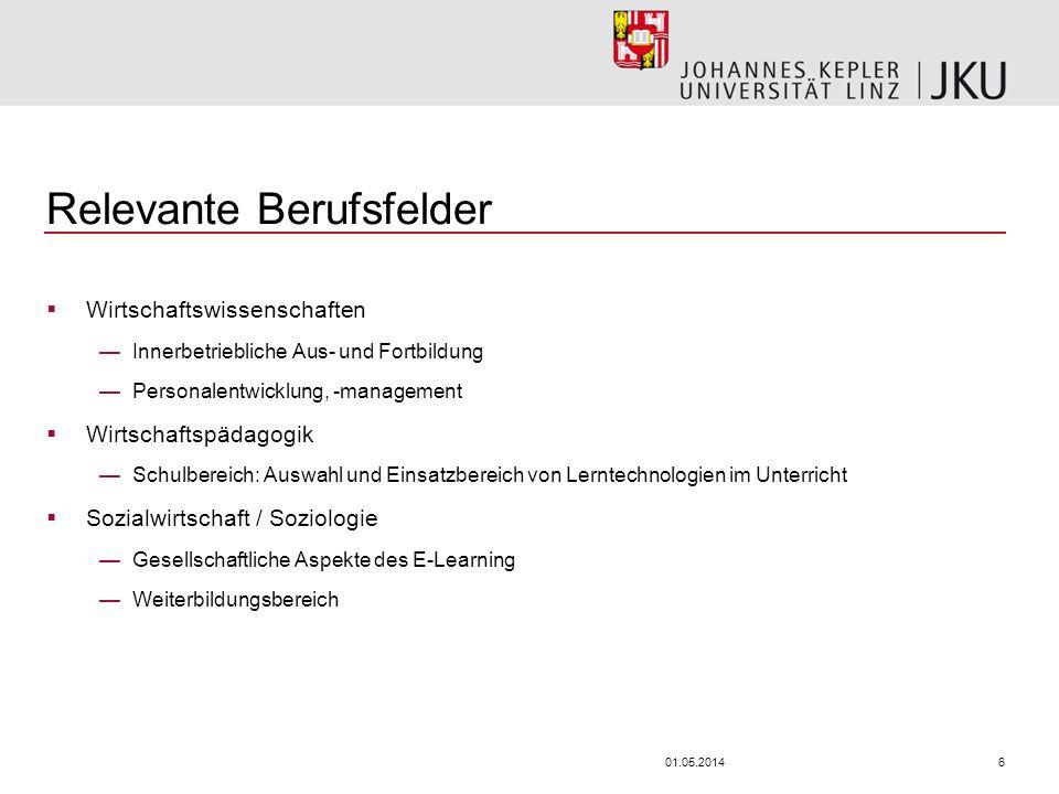 601.05.2014 Relevante Berufsfelder Wirtschaftswissenschaften Innerbetriebliche Aus- und Fortbildung Personalentwicklung, -management Wirtschaftspädago