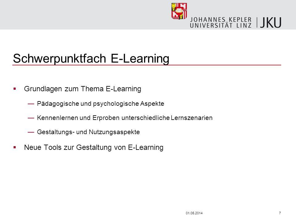 701.05.2014 Schwerpunktfach E-Learning Grundlagen zum Thema E-Learning Pädagogische und psychologische Aspekte Kennenlernen und Erproben unterschiedliche Lernszenarien Gestaltungs- und Nutzungsaspekte Neue Tools zur Gestaltung von E-Learning