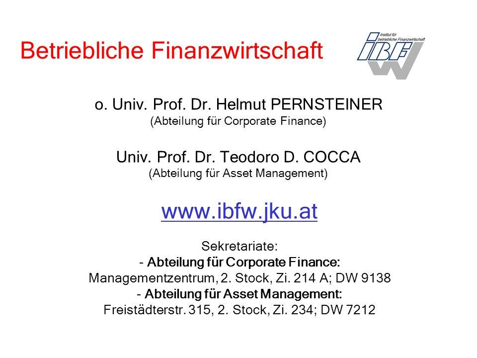 o. Univ. Prof. Dr. Helmut PERNSTEINER (Abteilung für Corporate Finance) Univ.