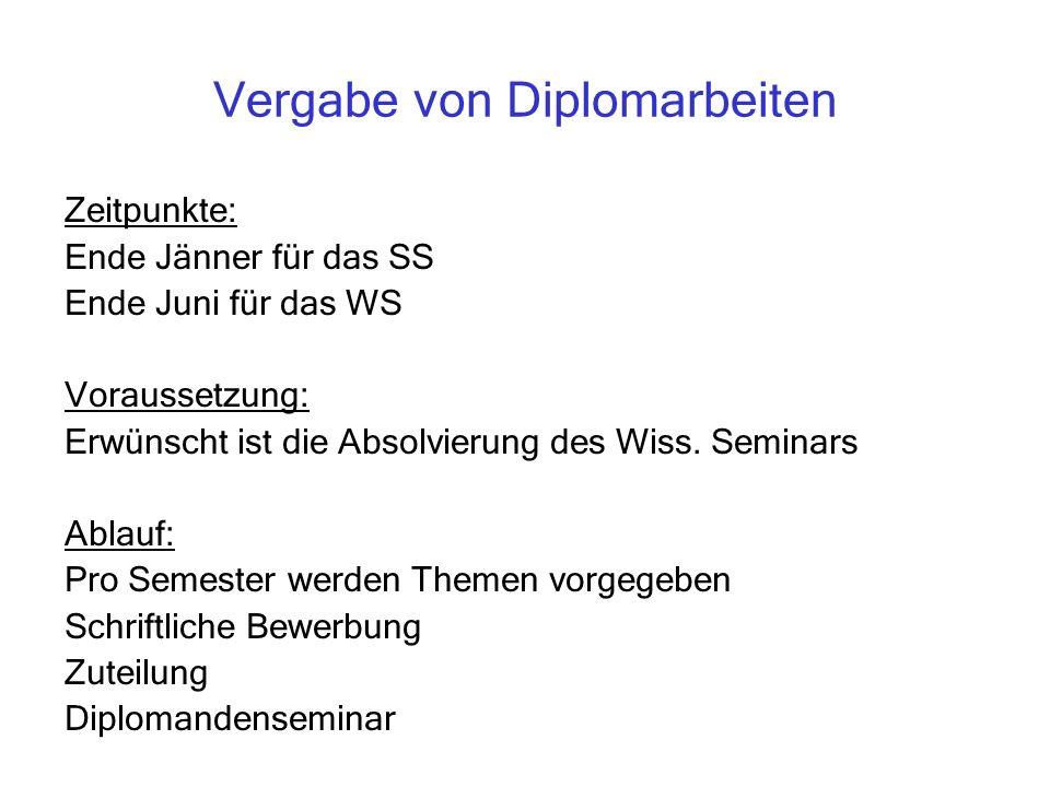 Vergabe von Diplomarbeiten Zeitpunkte: Ende Jänner für das SS Ende Juni für das WS Voraussetzung: Erwünscht ist die Absolvierung des Wiss.