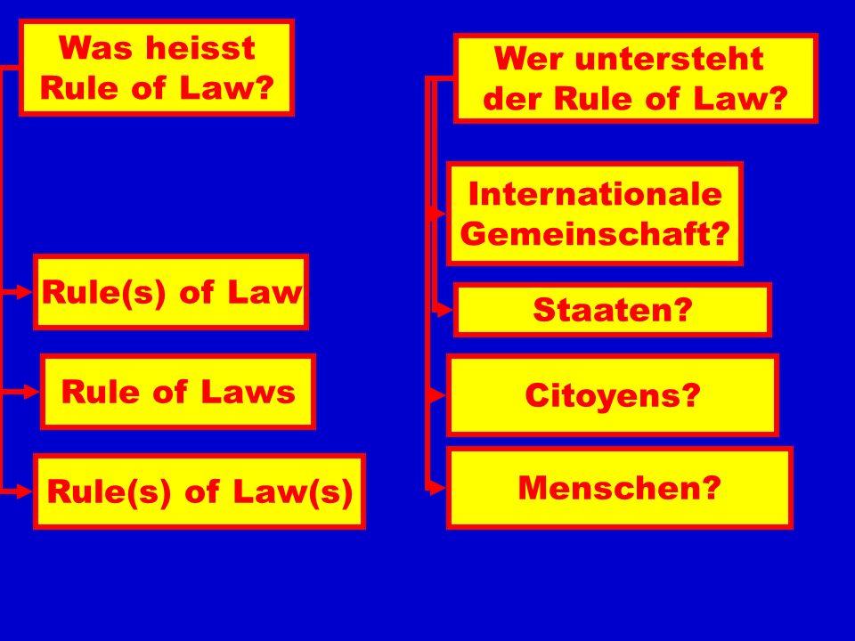Rule of Law Rechtsstaat Etat de Droit Einheit des Staates